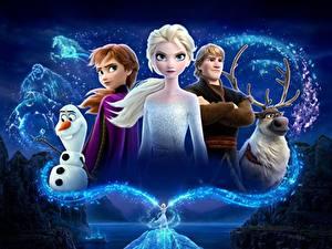 Фотография Холодное сердце Олени Дисней Снеговик Юноша Kristoff, Olaf, Sven, Anna, Elsa 3D_Графика Девушки