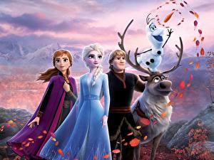 Фото Холодное сердце Олени Disney Снеговика Парни Kristoff, Olaf, Sven, Anna, Elsa 3D_Графика Девушки