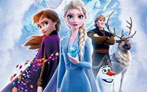 Обои Холодное сердце Олени Дисней Снеговик Юноша Косички Kristoff, Olaf, Sven, Anna, Elsa 3D_Графика Девушки