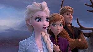 Фотографии Холодное сердце Дисней Юноша Косички Kristoff, Anna, Elsa 3D_Графика Девушки