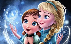 Обои для рабочего стола Холодное сердце Рисованные Косички Anna, Elsa Мультфильмы Девушки