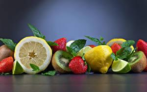 Обои Фрукты Клубника Лимоны Киви