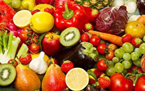 Картинки Фрукты Овощи Перец Яблоки Киви Виноград Груши Баклажан Еда