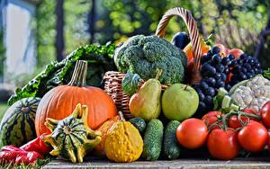 Фотография Фрукты Овощи Помидоры Огурцы Тыква Виноград Яблоки Груши