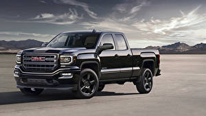 Картинки GMC Черные Металлик 2016 Sierra Elevation Edition автомобиль