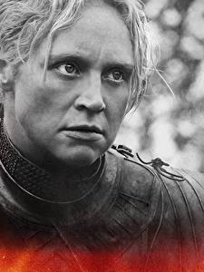 Картинки Игра престолов (телесериал) Вблизи Лица Brienne of Tarth кино Девушки