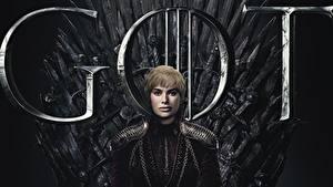 Картинки Игра престолов (телесериал) Трон Lena Headey, Cersie Lannister кино Девушки