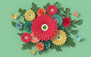 Картинки Герберы Зеленых Бумаги Дизайн Цветы 3D_Графика