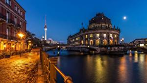 Обои Германия Берлин Мост Реки Вечер город