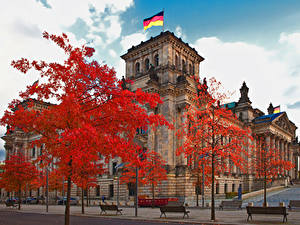 Фотография Германия Берлин Улица Скамейка Reichstag building Города