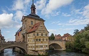 Обои Германия Мосты Церковь Бавария Bamberg, river Regnitz Города