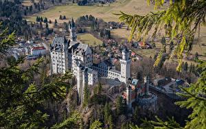 Картинка Германия Замки Нойшванштайн Бавария Сверху