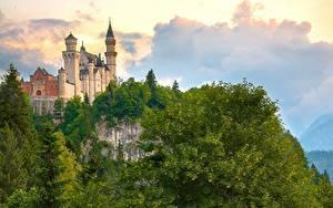 Фотографии Германия Замки Гора Нойшванштайн Бавария Дерева Облака Природа