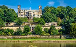 Картинка Германия Замок Деревьев Albrechtsberg Castle город