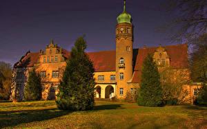 Обои Германия Замки HDRI Ель Castle Ulenburg