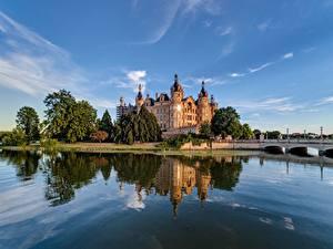 Фото Германия Замки Озеро Schweriner Schloss Природа