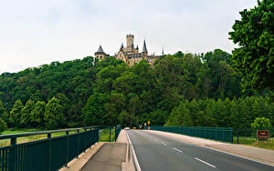 Картинка Германия Замок Дороги Лес Забора Marienburg castle road in Pattensen Природа