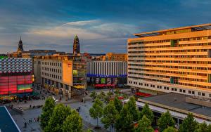 Фото Германия Дрезден Здания Вечер Улице город