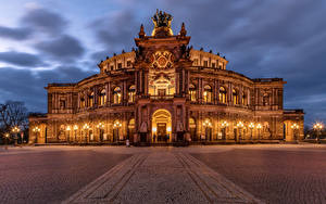 Картинка Германия Дрезден Дома Городская площадь Semperoper