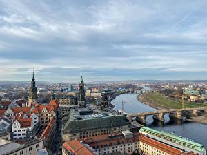 Фотографии Германия Дрезден Реки Мосты Дома Сверху Города