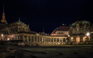 Картинка Германия Дрезден Дворца Ночные Лучи света Музеи Zwinger palace