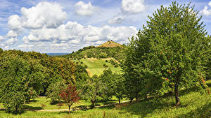 Фото Германия Поля Небо Холмы Дерева Облачно Hepsisau
