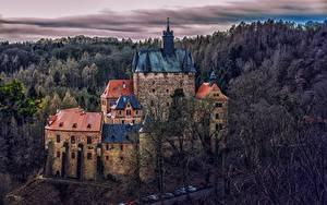 Картинка Германия Лес Замок Крепость Деревья Башня Kriebstein Castle Природа