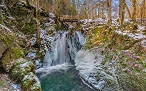 Картинка Германия Леса Речка Мосты Деревья Лед Cochem Природа
