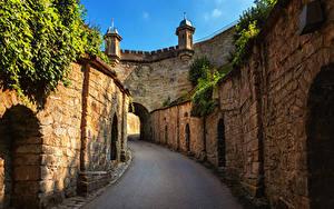 Картинка Германия Крепость Дороги Стенка Fortress Hohenasperg город