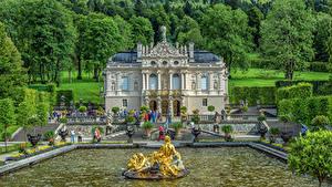 Картинки Германия Фонтаны Скульптуры Бавария Дворца Лестницы Дерево HDRI Linderhof