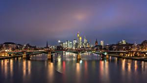 Картинки Германия Франкфурт-на-Майне Реки Мосты Дома В ночи