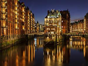 Картинки Германия Гамбург Мост Ночь Водный канал Города
