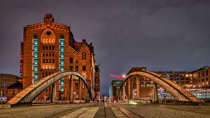 Картинки Германия Гамбург Дома Мост Города