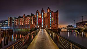 Фото Германия Гамбург Здания Мост Реки Maritimes Museum