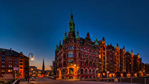 Фото Германия Гамбург Дома Мосты Улице Уличные фонари St. Annenbrücke