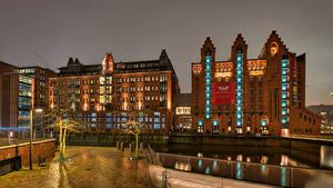 Фотография Германия Гамбург Дома Уличные фонари Maritimes Museum