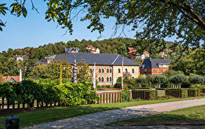 Фотографии Германия Дома Забор Ветки Blankenburg (Harz)