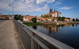 Картинка Германия Дома Мост Реки Уличные фонари Meissen Saxony Города