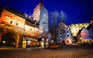 Фотография Германия Здания Замки Городская площадь Ночные Деревья Nuremberg Castle Города