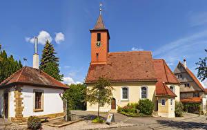 Картинки Германия Здания Часы Башни Hepsisau