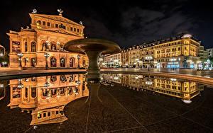 Фотография Германия Дома Франкфурт-на-Майне Ночью Городской площади Отражается Old Opera город