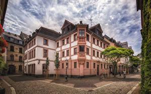 Фотография Германия Здания Майнц Улица Уличные фонари Города