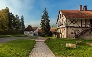 Картинки Германия Дома Лестницы Трава Ель Marbach Ludwigsburg