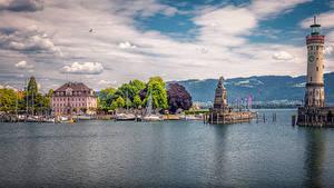Картинки Германия Дома Пристань Маяк Памятники Бавария Залив Lindau Города