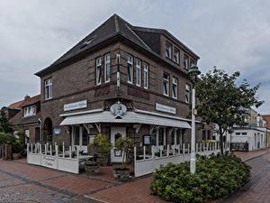 Картинки Германия Здания Улице Уличные фонари Кустов Ресторане Norderney, Neptun город