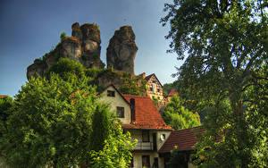 Картинки Германия Здания Бавария Утес Дерево Oberfranken