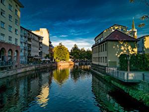 Фото Германия Дома Водный канал Pforzheim Города