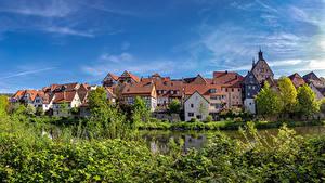 Фото Германия Здания Река Кустов Besigheim
