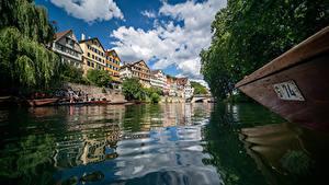 Картинка Германия Дома Речка Лодки Дерево Облако Водный канал Tübingen Города