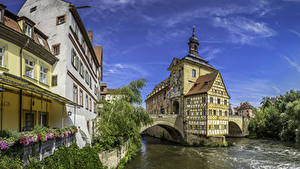 Фотографии Германия Дома Река Мосты Бавария Bamberg